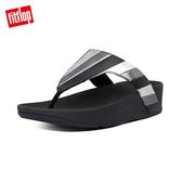 【FitFlop】LOTTIE PATCHWORK多彩金屬光拼接夾腳涼鞋-女(黑色)