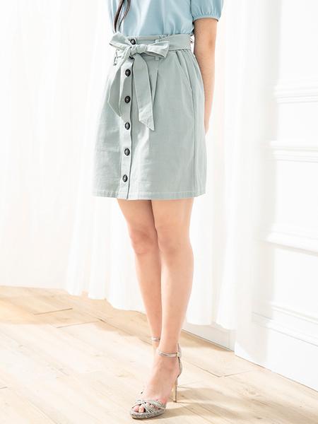 春夏下殺↘5折[H2O]附腰帶前開釦設計A字短裙 - 黑/粉/淺綠色 #0672008