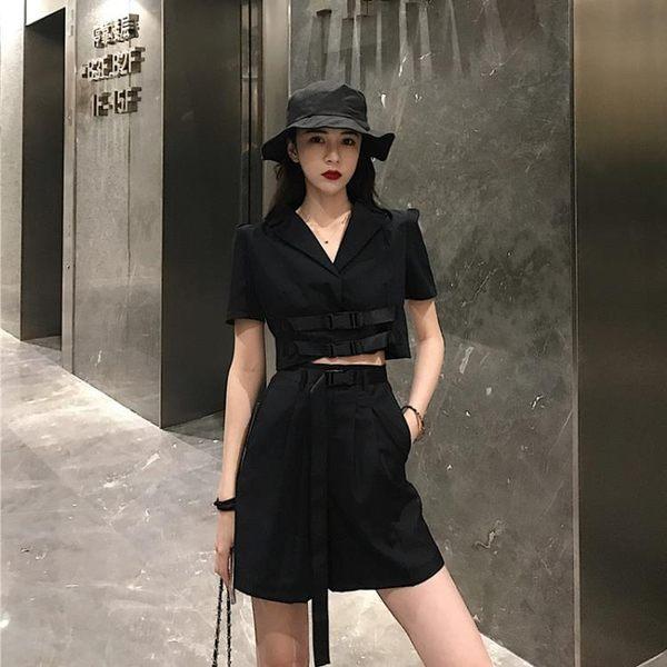 韓版風短款露臍西裝領襯衣外套 高腰寬鬆百搭闊腿短褲