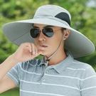 防曬帽男夏季戶外透氣釣魚帽子男士遮臉太陽帽子遮陽帽大檐漁夫帽 韓國時尚週