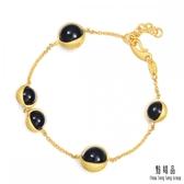 點睛品 g*collection系列 圓形黑玉髓黃金手鍊
