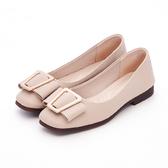 MICHELLE PARK 氣質公主 柔軟牛皮蝴蝶結方形飾扣包鞋-奶茶