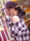 假兩件露肩襯衣原宿黑白格子襯衫女漏肩小心機婊上衣設計感不規則
