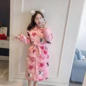睡袍女加厚加長款珊瑚絨夾棉法蘭絨冬裝可愛加絨浴袍式睡衣 萬客居
