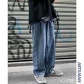 秋冬季潮牌工裝牛仔褲男士韓版寬鬆潮流直筒闊腿褲子 伊芙莎