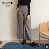 東京著衣-tokichoi-高貴氣息千鳥紋側排釦設計磨毛長褲(192064)