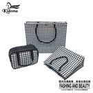 手提袋-編織千鳥紋系列三件組-黑白千鳥...