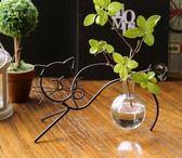 韓式小清新貓咪水培花瓶 可愛少女心臥室辦公室桌面裝飾品擺件  喜迎中秋 優惠兩天