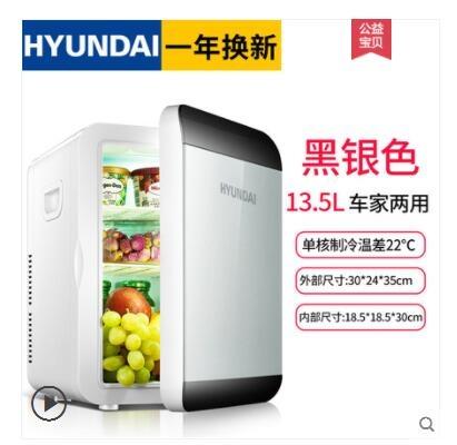 HYUNDAI現代6L小冰箱迷你宿舍小型家用車載冰箱車家兩用制冷暖器ATF 沸點奇跡 (送220v轉110v變壓器)