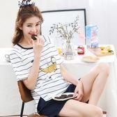 休閒服 夏季睡衣女棉質薄款短袖短褲大碼可愛女人兩件套學生家居服韓版夏