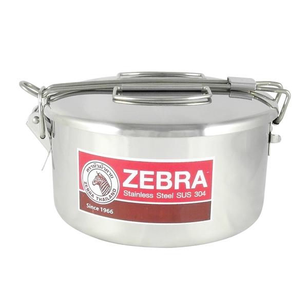 ZEBRA斑馬牌不鏽鋼雙層兩用圓型便當盒14cm附菜盆飯盒外蓋卡榫提把設計-大廚師百貨
