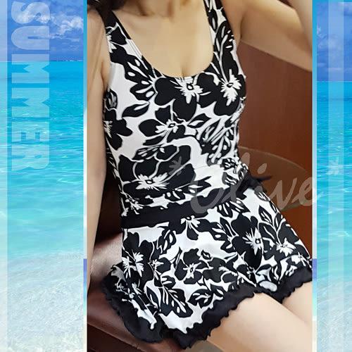 ☆小薇的店☆紅色浪漫品牌【日系扶桑花圖騰】時尚連身裙泳裝特價790元 NO.16029(M-EL)