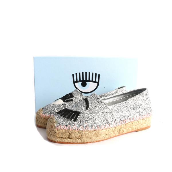 【CHIARA FERRAGNI】眼睛草編鉛筆鞋(銀色粉邊)CF895