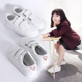 童鞋兒童休閒皮面帆布鞋魔術貼小白鞋板鞋