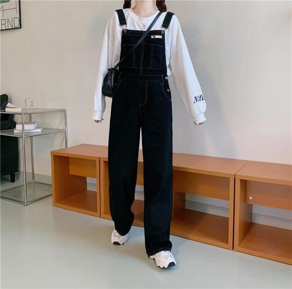 快速出貨 吊帶褲秋季新款直筒褲子寬鬆高腰黑色顯瘦闊腿牛仔刺繡吊帶褲女裝
