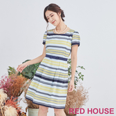 【RED HOUSE 蕾赫斯】點點條紋洋裝(淺藍色)
