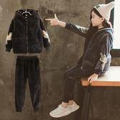 套裝女童秋冬裝套裝2018新款洋氣中大童兒童裝時尚運動金絲絨三件套潮