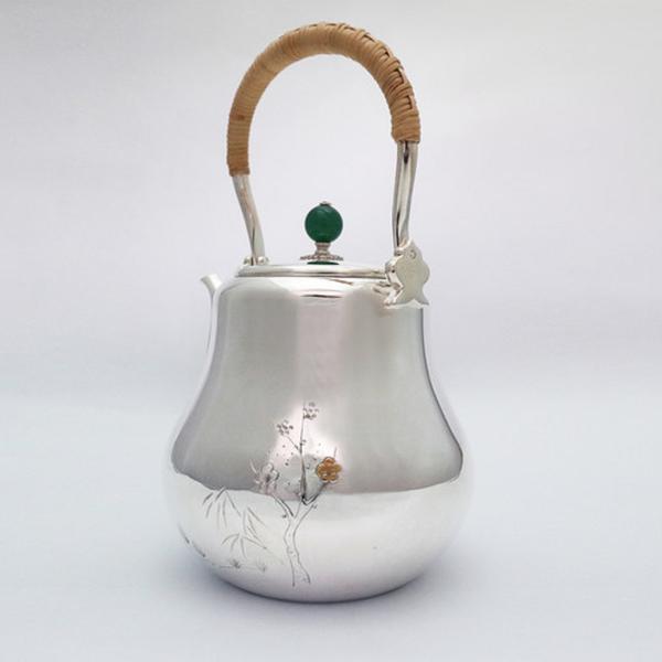 日本銀壺【銀祥堂 鶴首松竹梅雕金 1100cc】日本製 純銀製 湯沸手工壺 銀器 泡茶壺