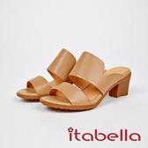 ★2017秋冬新品★itabella.素面牛皮粗跟拖鞋(7652-30棕)