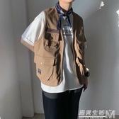美式復古阿美咔嘰日系ins多口袋工裝馬甲外套港風坎肩學生上衣男 雙十一全館免運
