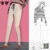 哈倫褲 毛呢褲子女秋冬新款高腰寬鬆休閒哈倫小腳米色加絨呢子哈倫褲 玫瑰女孩