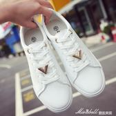 新款小白鞋女 繫帶休閒鞋女潮學生韓版     百搭白色小清新板鞋子  蜜拉貝爾