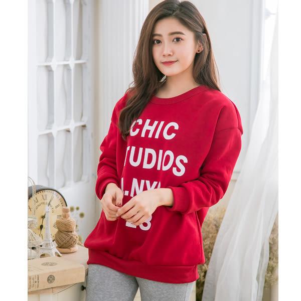 *孕婦裝*台灣製保暖刷毛簡約字母設計孕婦上衣 兩色----孕味十足【CNI1533】