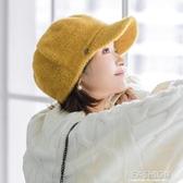 韓版秋冬新款保暖兔毛帽子女時尚百搭鴨舌帽文藝氣質鴨舌帽街頭潮