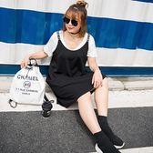 快速出貨 中大尺碼女裝夏季遮肚子藏肉字母吊帶裙背帶裙女胖mm連身裙【396】