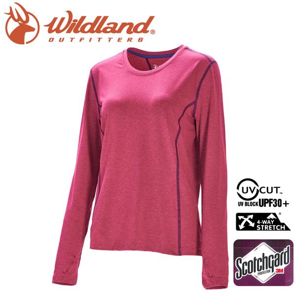 【Wildland 荒野 女 圓領雙色抗UV長袖上衣《桃紅》】0A71655/運動衣/吸濕排汗/登山/防曬