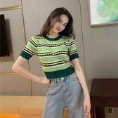 2020早春新款歐貨韓版原宿港風女裝針織短袖T恤女短款時尚上衣INS 蘑菇街小屋
