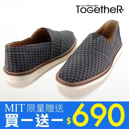 ToGetheR+【FTP27】MIT台灣製造,雅痞紳士款千鳥格紋懶人鞋(二色)