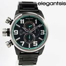【萬年鐘錶】elegantsis 三眼戰鬥狙擊鏡造型元素風格 黑x深灰x銀框 大錶徑 48mm  ELJF48K-OB02MA