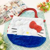 【KP】Hello Kitty 大臉 掩面束口袋 絨毛 立體 束口 收納提袋 包包 正版日本進口授權 490161010