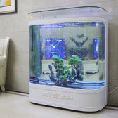 歐式魚缸客廳家用雙圓形中型玻璃落地生態免換水金魚缸水族箱  igo 全館免運