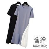 EASON SHOP(GW8169)韓版撞色不規則拼接裙襬圓領短袖連身裙長版T恤裙女上衣服寬鬆洋裝裙子彈力長裙