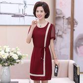 中老年女裝夏裝新款裙子40-50歲中年媽媽裝夏季短袖大碼洋裝 滿天星