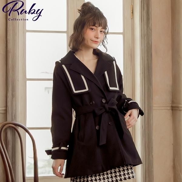 外套 學院風水手領綁帶毛呢外套-Ruby s 露比午茶