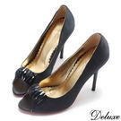 【Deluxe】典雅氣質晶鑽緞布絲綢魚口高跟鞋(黑)
