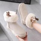 雪地靴 雪地棉靴女短筒冬季2021年新款時尚百搭加絨加厚保暖學生面包棉鞋 維多原創