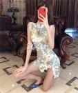 旗袍 網紅時尚短款旗袍夏裝新款輕款修身改良版性感少女連身裙