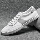 帆布鞋男 休閒鞋 秋冬透氣時尚系帶男板鞋小白鞋潮流拼色潮男鞋硫化鞋平底鞋《印象精品》q1938
