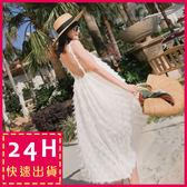 梨卡★現貨 - 天使羽毛度假性感細肩露背帶縮腰連身裙連身長裙洋裝沙灘裙C6212