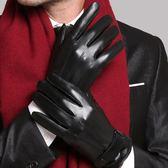 觸屏男士手套冬季皮手套男加絨加厚防風防水手套 亞斯藍