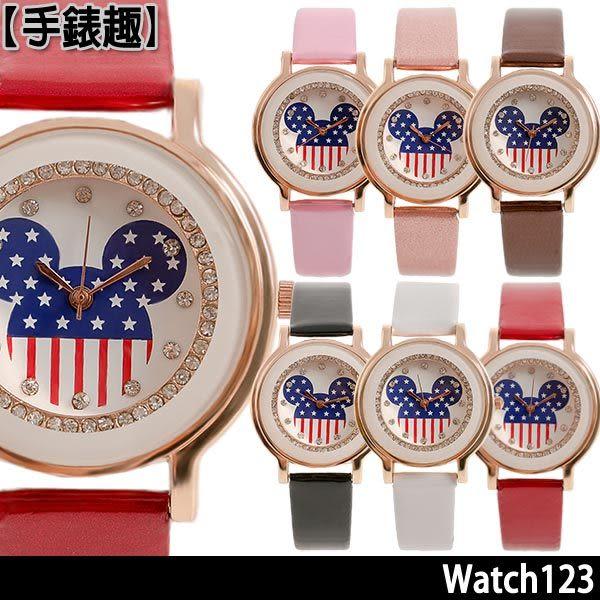 【Watch123】美國鼠譚 經典美式風情晶鑽腕錶-34mm (共6色可選)