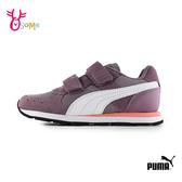 PUMA童鞋 女童運動鞋  記憶鞋墊 透氣 輕量跑步鞋  魔鬼氈 休閒運動鞋  J9544#紫色◆OSOME奧森鞋業