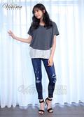 Victoria  異材質拼接寬鬆短袖T-女-深麻灰/黑條紋