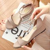 楔形鞋.MIT優雅Z字型繞踝楔形涼鞋.白鳥麗子