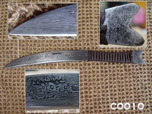 郭常喜與興達刀鋪-積層花紋鋼手工製作小魚刀-繩柄細長魚型(C0010)賀!榮獲高雄城市品牌CAD認證