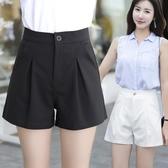伊藍訪女褲2019夏季新款寬鬆闊腿休閒褲子女五分A字西褲高腰短褲